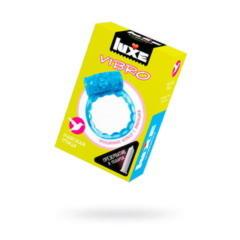 Виброкольцо LUXE VIBRO Райская птица + презерватив, 1 шт